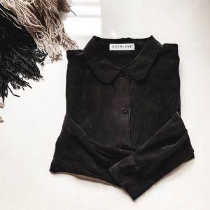EVERLANE • silk black round collar blouse